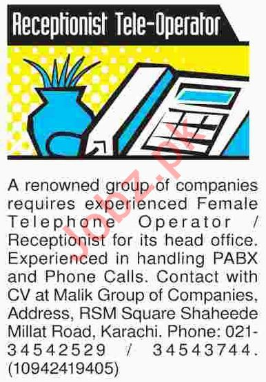Receptionist & Telephone Operator Jobs 2018