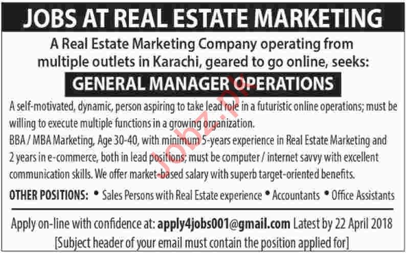 General Manager Operations for Real Estate Marketing Company