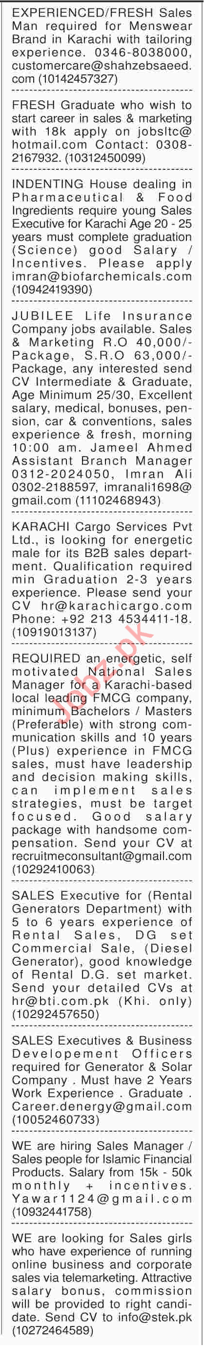 Marketing & Sales Staff Jobs Open in Karachi
