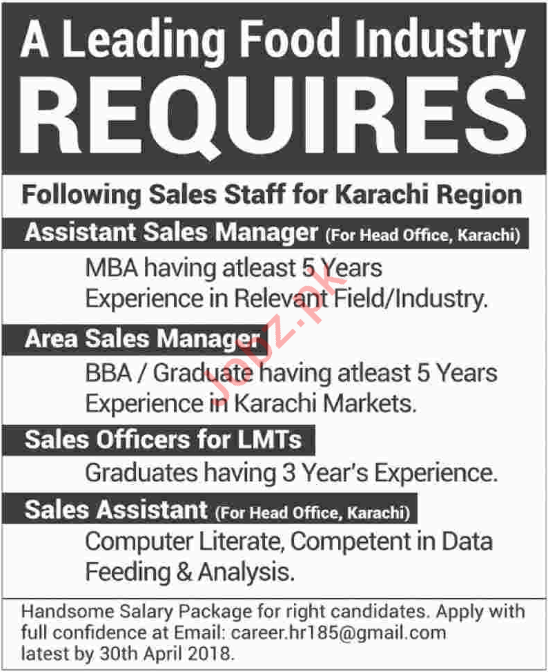 Sales Managers for Food Industry