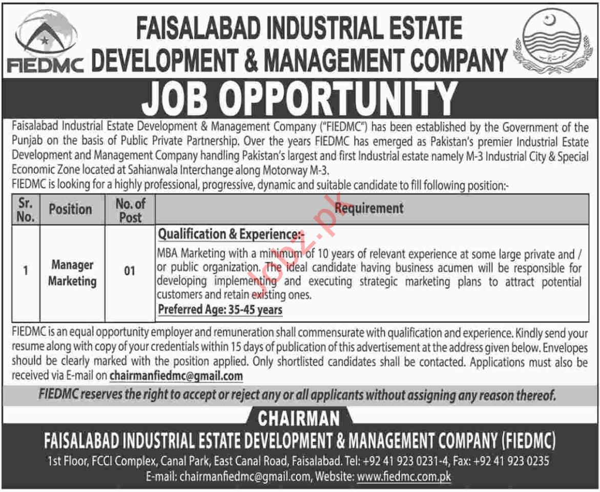 Faisalabad Industrial Estate Development & Management Co Job