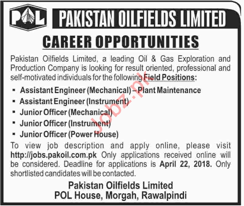 Engineers at Pakistan Oilfields Limited POL