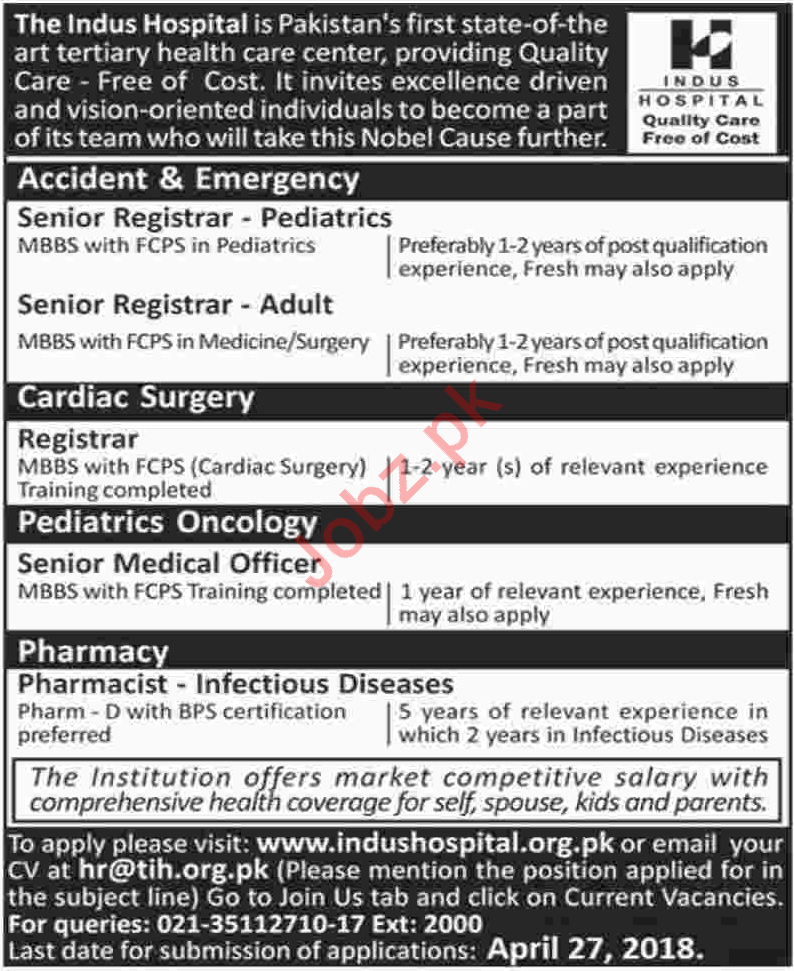The Indus Hospital TIH Job Opportunities