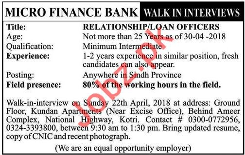 Micro Finance Bank Walk In Interviews