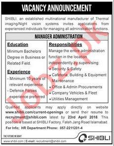 SHIBLI Multinational Company Wanted Manager Administration
