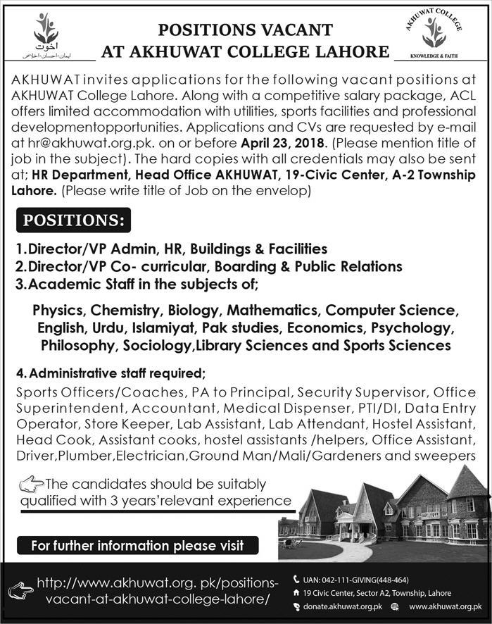 Akhuwat College Lahore Director / VP Admin Jobs
