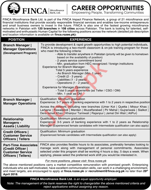 FINCA Microfinance Bank Limited Lahore Jobs 2018 Managers