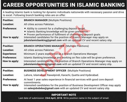 Branch Manager & Business Development Officer Jobs 2018