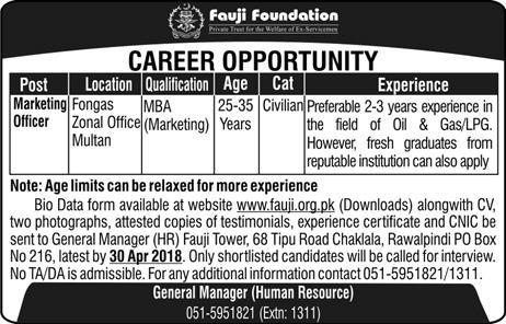 Fauji Foundation Marketing Officers   Jobs