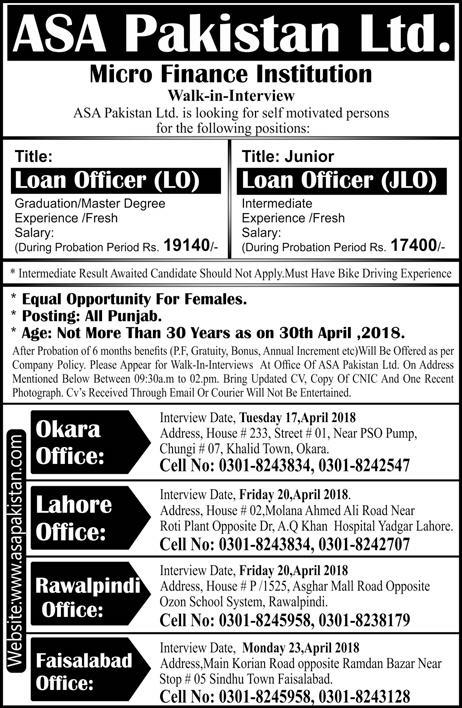 ASA Pakistan Limited Micro Finance Institution Jobs