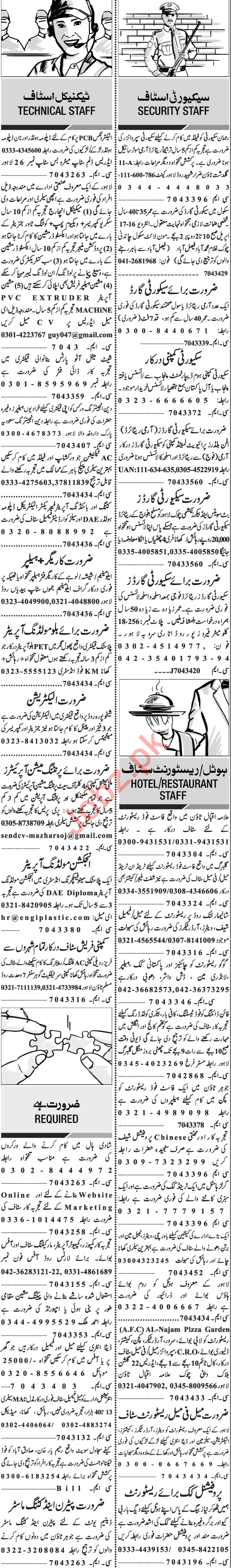 Technical Staff & Security Guards Jobs in Lahore