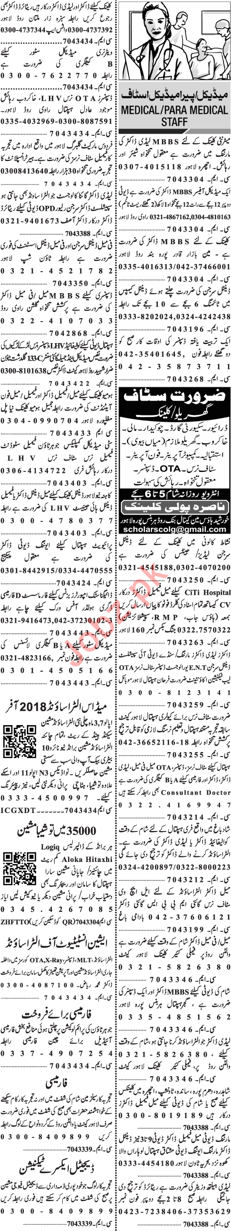 Doctor, Nurse & Medical Staff Jobs in Lahore