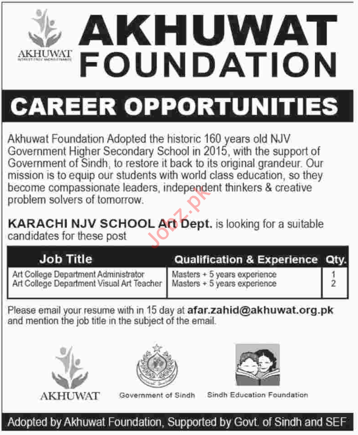 NJV School Karachi Jobs 2018 for Teacher & Administrator