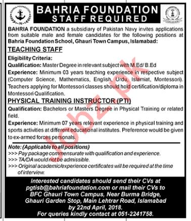 Bahria Foundation Islamabad Jobs 2018 for Teachers