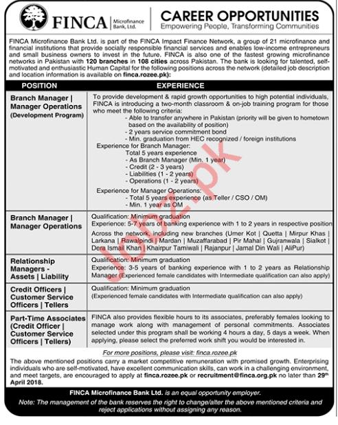 FINCA Microfinance Bank Islamabad Jobs 2018