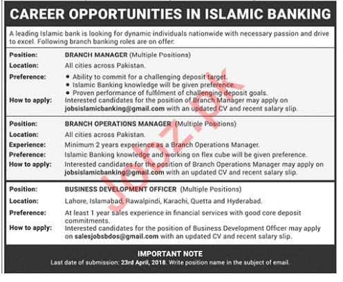 Business Development Officer & Branch Manager Jobs 2018