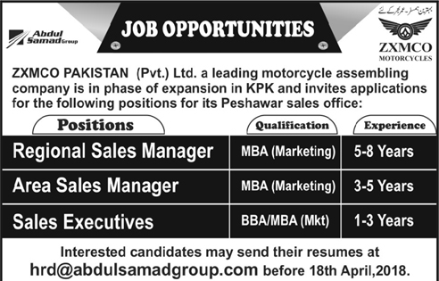 ZXMCO Pakistan Pvt Limited Area Sales Manager Jobs