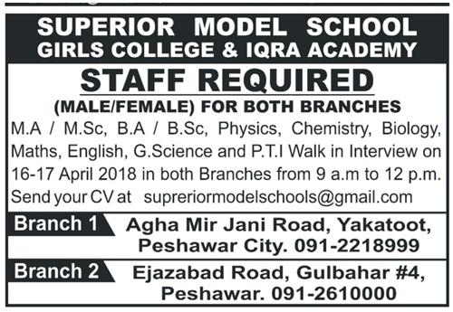Superior Model School & College Iqra Academy Jobs