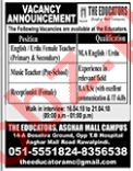 The Educators Asghar Mall Rawalpindi Jobs for Teachers