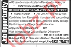 Data Verification Officer Jobs in Rawalpindi
