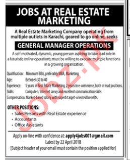 Real Estate Marketing - GM Operations, Accountants, Sales