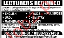 Concept College Rawalpindi Jobs 2018 for Lecturer