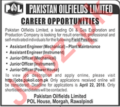 Pakistan Oilfields Limited POL Rawalpindi Jobs 2018