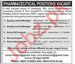 Microbiologist & Quality Control Manager Jobs 2018