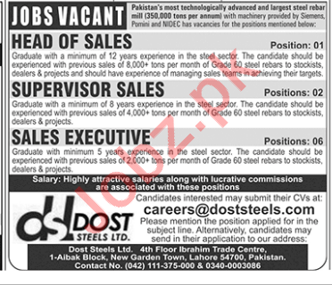 Dost Steels Limited Lahore Jobs 2018 for Sales Executive