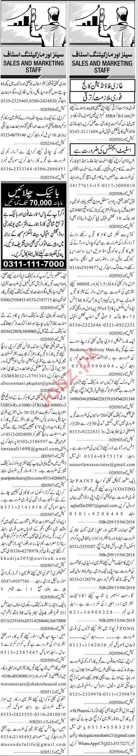 Sales & Marketing Staff Jobs Opportunity in Karachi