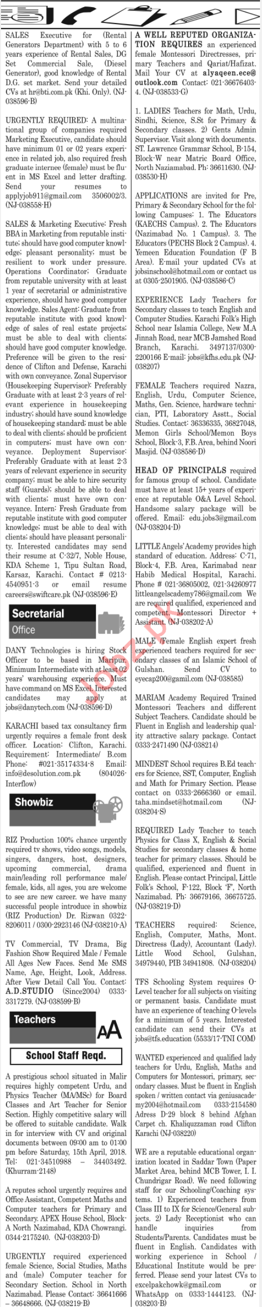 Daily Jang Classified Jobs 2018 for Miscellaneous Staff