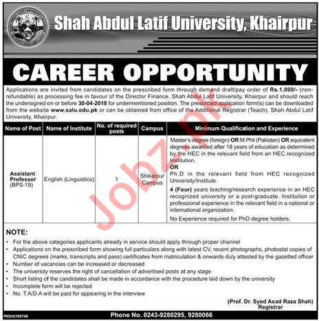 Shah Abdul Latif University SALU Khairpur Jobs 2018