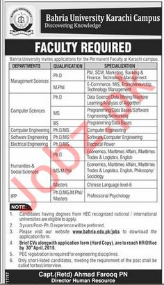 Bahria University Karachi Campus BUKC Jobs 2018 Professors