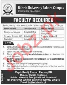 Bahria University Lahore Campus BULC Jobs 2018 for Professor