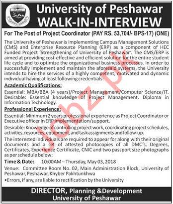 University of Peshawar UOP Jobs 2018 for Project Coordinator