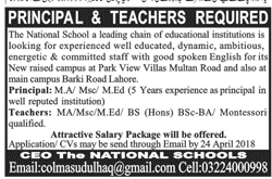 Principal and Teachers Job in The National Schools