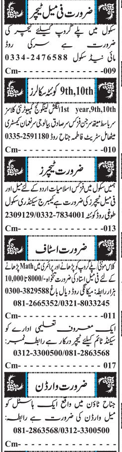 Male / Female Teachers Job Opportunity