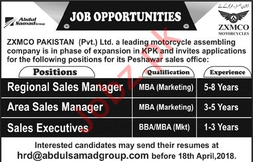 Zxmco Pakistan Jobs 2018 for Regional Sales Manager