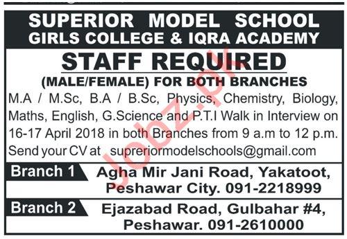 Superior Model School Peshawar Jobs 2018 for Teacher