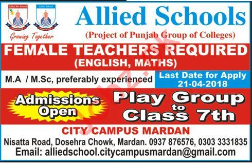 Allied Schools City Campus Mardan Jobs 2018 for Teachers
