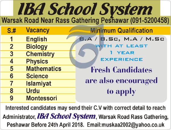 IBA School System Teachers Jobs