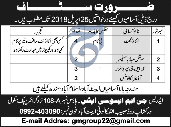 GM Associates Accountant, Social Media Officers Jobs