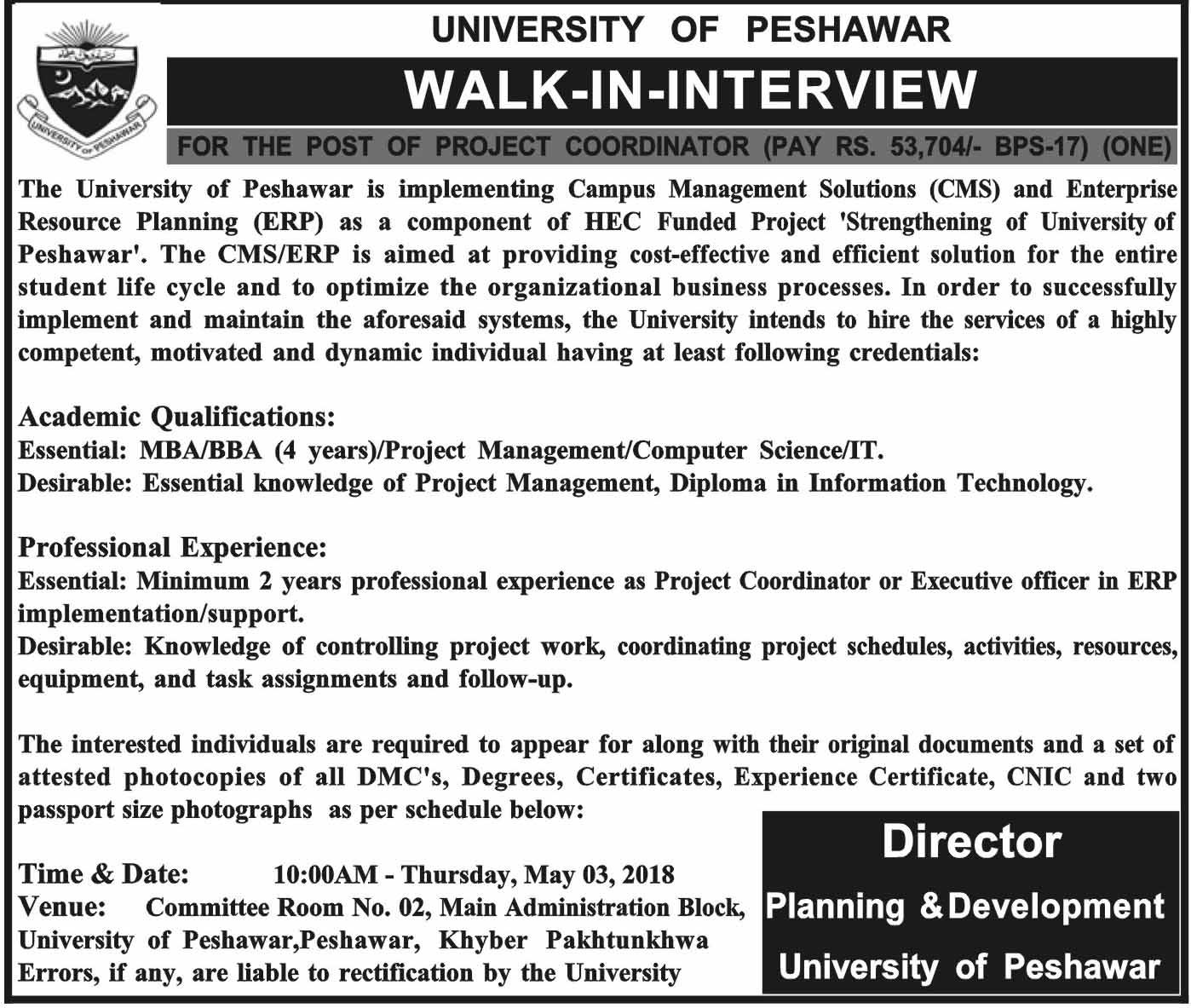 University of Peshawar Project Coordinators Jobs