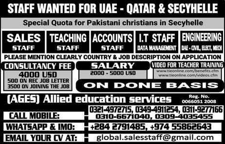 Sales  Staff, Teaching Staff, IT Staff Job Opportunity