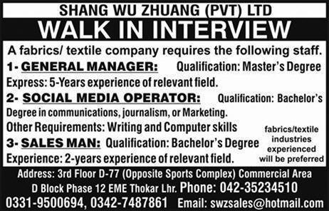 Shang wu Zhuang  Private Limited Jobs