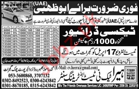 Taxi Driver Jobs 2018 in UAE