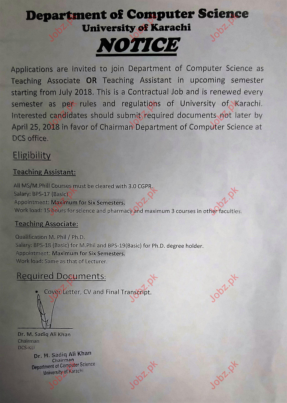 University of Karachi Jobs 2018 for Teaching Associate