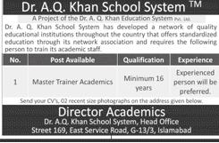 Dr A Q Khan School System Master Trainer Academics Jobs