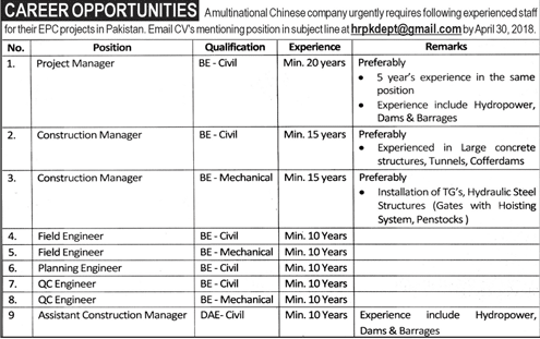 Multinational Chinese Company  Jobs