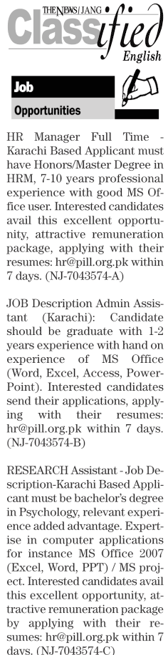 HR Manager, Admin Assistants Job Opportunity